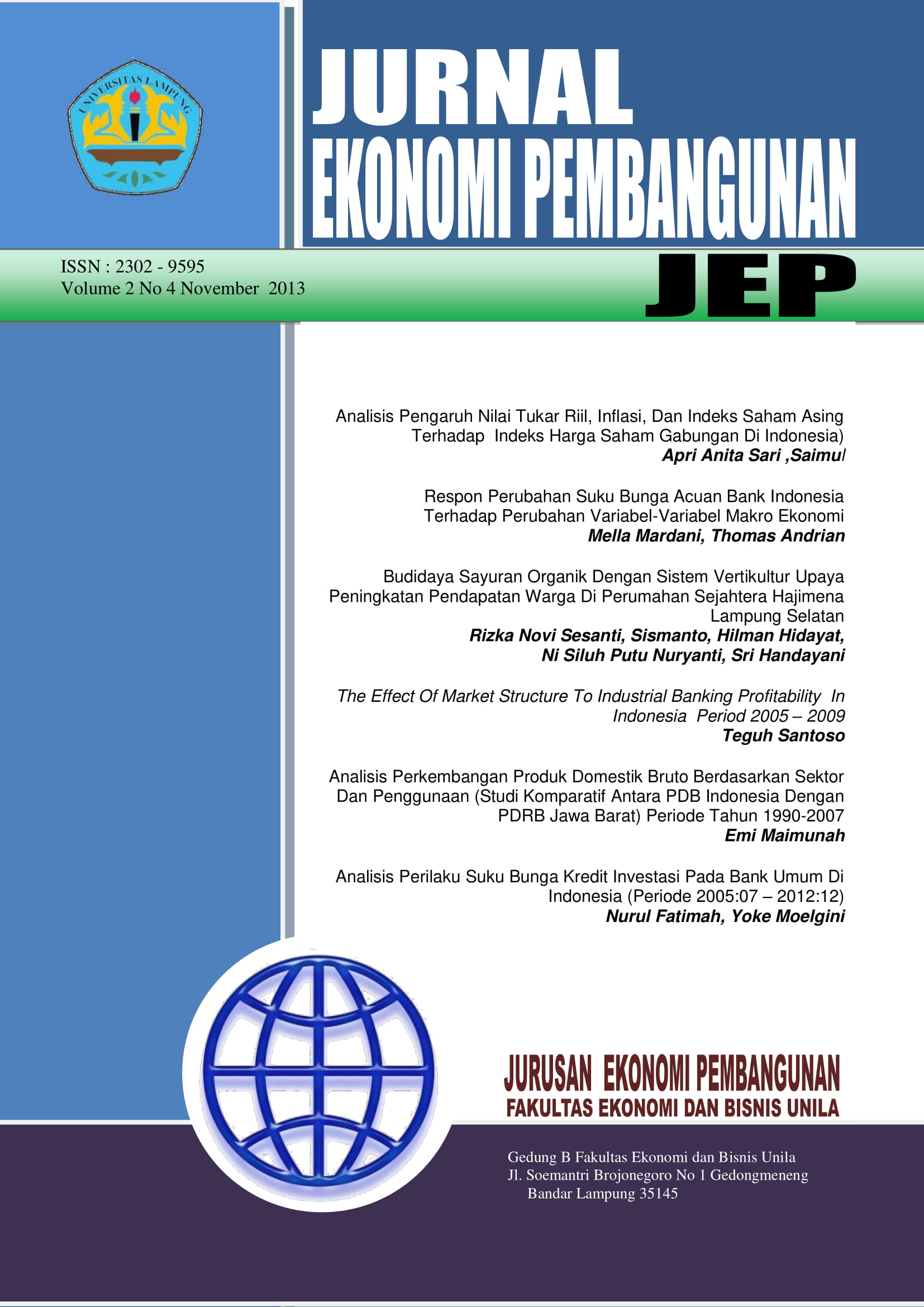 Jurnal Ekonomi Pembangunan Jep Faculty Of Economics And Business The University Of Lampung