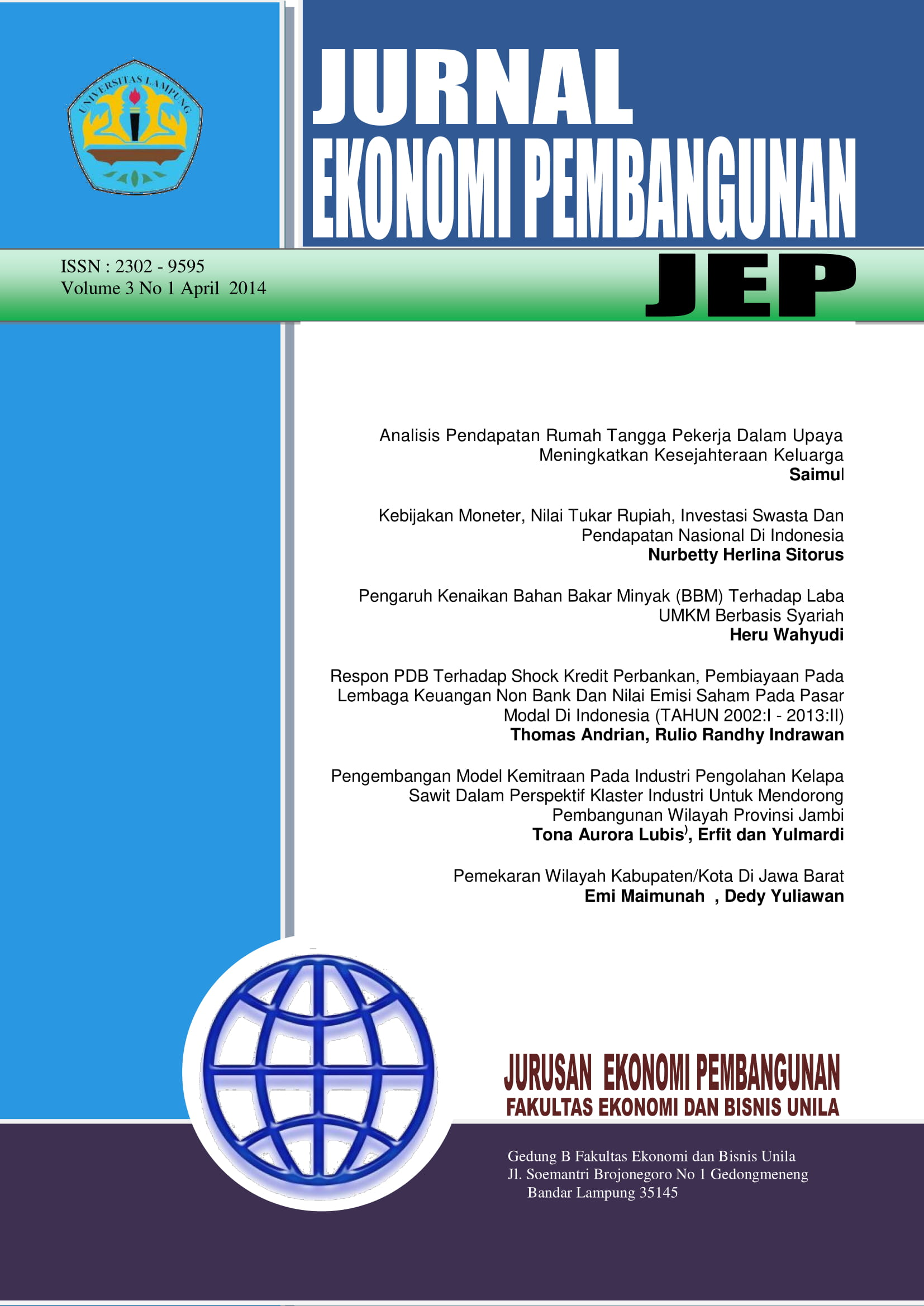 Jurnal Ekonomi Pembangunan Jep Faculty Of Economics And