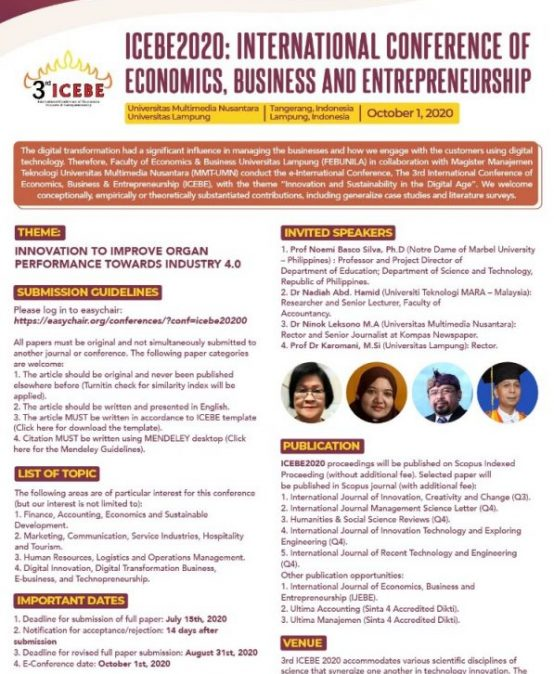 INTERNATIONAL CONFERENCE OF ECONOMICS, BUSINESS AND ENTREPRENEURSHIP (ICEBE 2020)