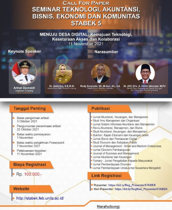 Call for Paper STABEK 5